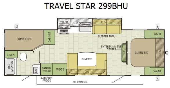 Travel Star 299BHU Floorplan Image