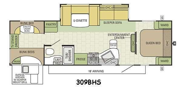 Travel Star 309BHS Floorplan Image