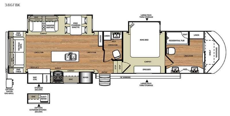 Floorplan - 2016 Forest River RV Wildwood Heritage Glen 386FBK