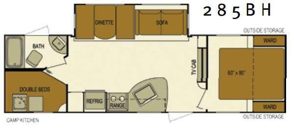 Floorplan - 2016 EverGreen RV Texan 285BH