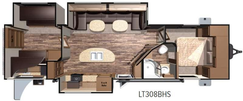 Floorplan - 2017 Highland Ridge RV Open Range Light LT308BHS