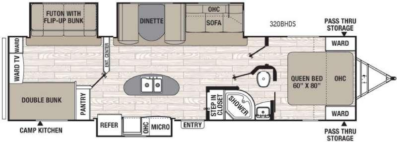 Floorplan - 2017 Coachmen RV Freedom Express Liberty Edition 320BHDS