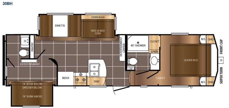 Floorplan - 2017 Prime Time RV Crusader LITE 30BH