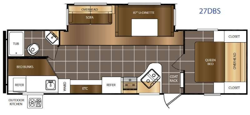 Floorplan - 2017 Prime Time RV Avenger ATI 27DBS