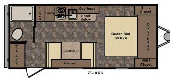 Floorplan - 2017 CrossRoads RV Z 1 Lite ZT18RB
