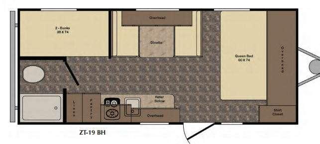 Floorplan - 2017 CrossRoads RV Z 1 Lite ZT19BH