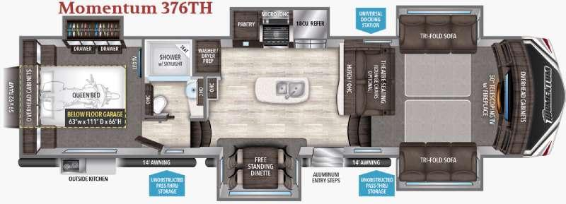 Floorplan - 2017 Grand Design Momentum 376TH