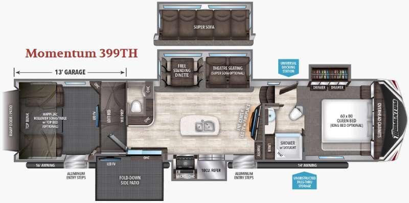 Floorplan - 2017 Grand Design Momentum 399TH