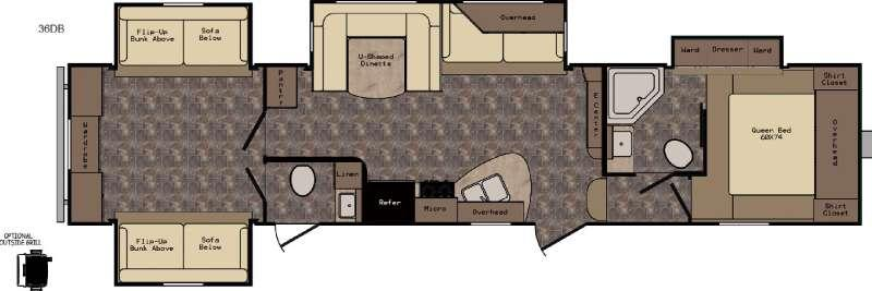 Floorplan - 2017 CrossRoads RV ReZerve RFZ36DB