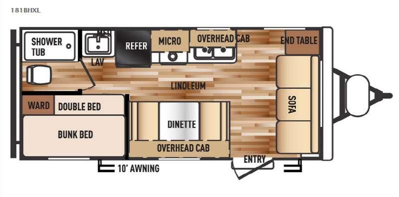 Wildwood X-Lite 181BHXL Floorplan Image