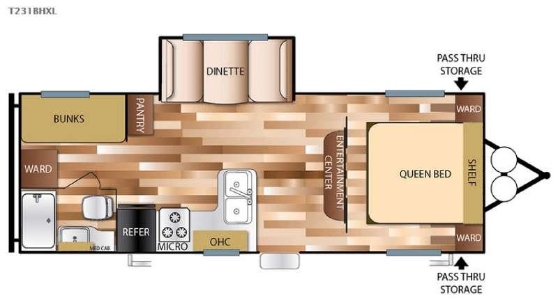 Wildwood X-Lite 231BHXL Floorplan Image