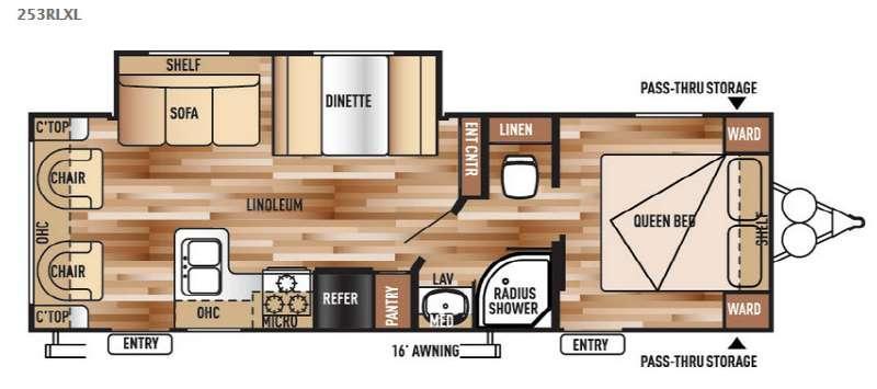 Wildwood X-Lite 253RLXL Floorplan Image