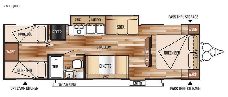 Wildwood X-Lite 281QBXL Floorplan Image