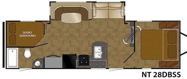 North Trail 28DBSS King Floorplan Image