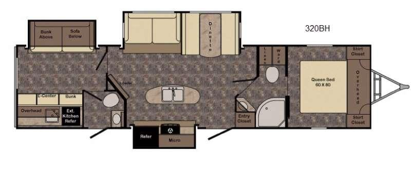 Floorplan - 2017 CrossRoads RV Hill Country HCT320BH
