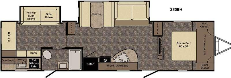 Floorplan - 2017 CrossRoads RV Hill Country HCT330BH