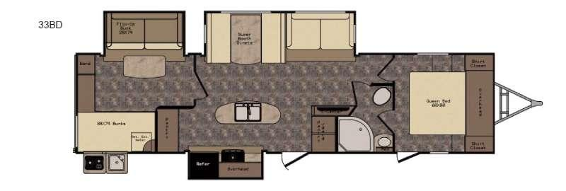 Floorplan - 2017 CrossRoads RV Hill Country HCT33BD