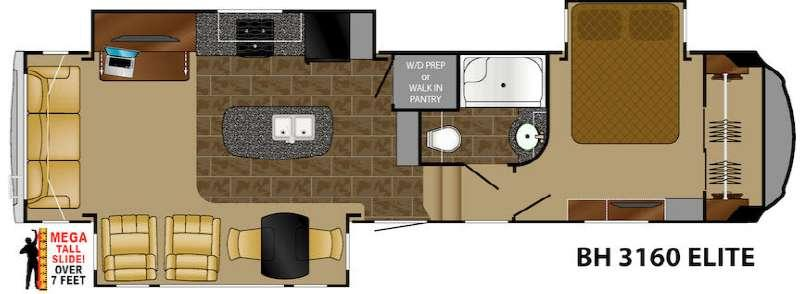 Floorplan - 2017 Heartland Bighorn 3160 Elite