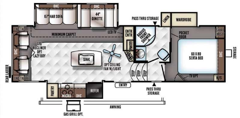 Floorplan - 2017 Forest River RV Flagstaff Classic Super Lite 8528RLIKWS