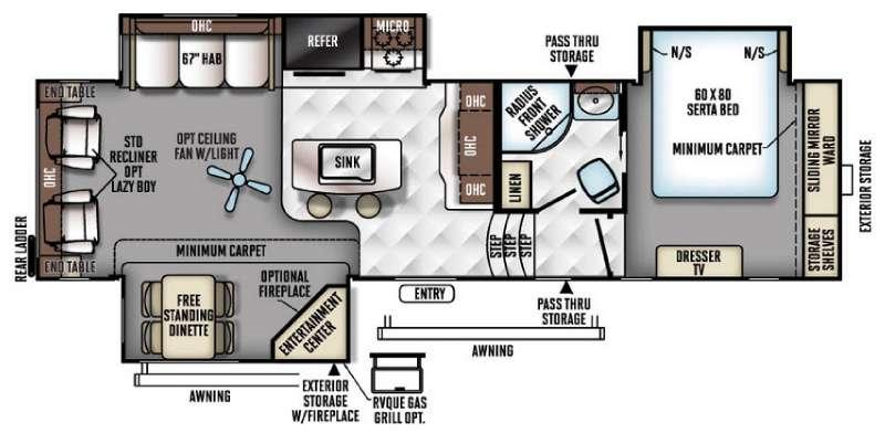Floorplan - 2017 Forest River RV Flagstaff Classic Super Lite 8529IKBS