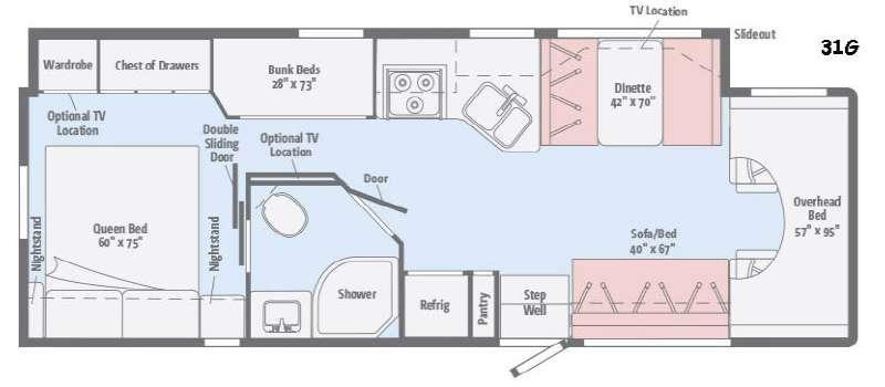 Floorplan - 2017 Winnebago Minnie Winnie 31G