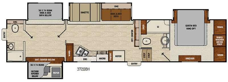 Floorplan - 2017 Chaparral 372QBH Fifth Wheel