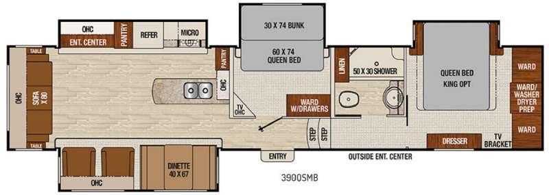 Chaparral 390QSMB Floorplan Image