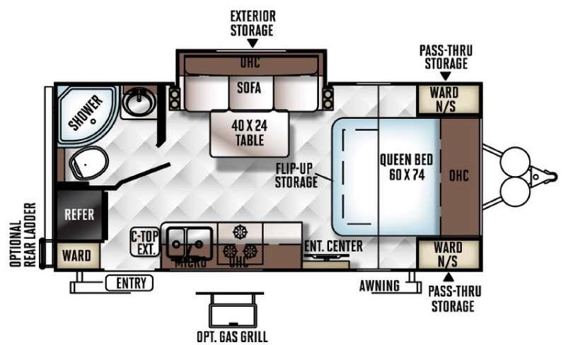 Floorplan - 2017 Forest River RV Flagstaff Micro Lite 21FBRS
