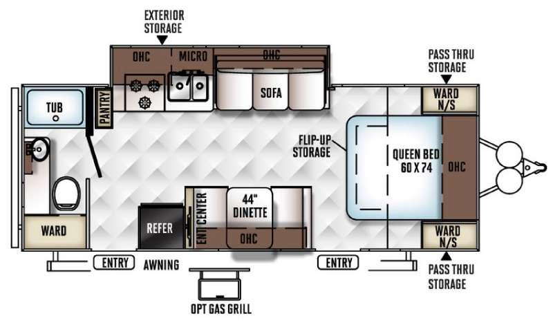 Floorplan - 2017 Forest River RV Flagstaff Micro Lite 25DKS