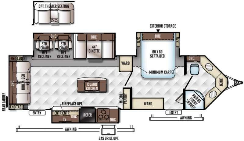 Floorplan - 2017 Forest River RV Flagstaff V-Lite 30WIKSS