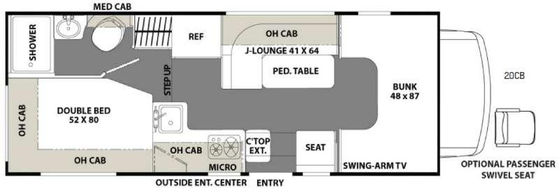 Floorplan - 2017 Coachmen RV Freelander 20CB  Ford Transit