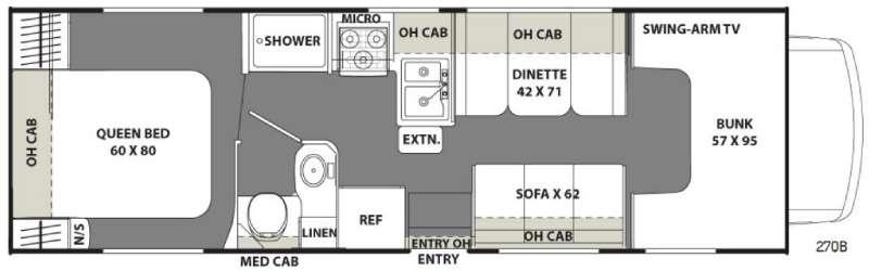 Floorplan - 2017 Coachmen RV Freelander 27QB Chevy 4500