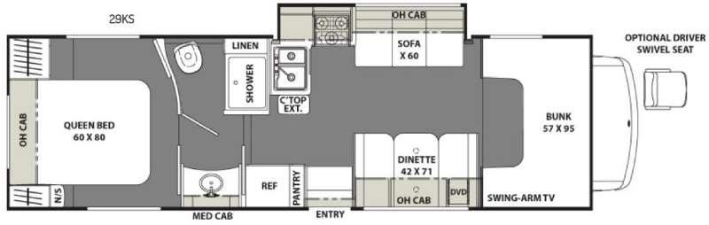 Floorplan - 2017 Coachmen RV Freelander 29KS Chevy 4500