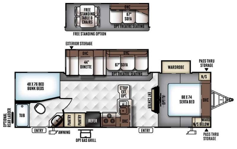 Floorplan - 2017 Forest River RV Flagstaff Super Lite 27BEWS