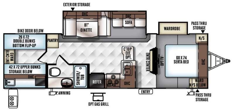Floorplan - 2017 Forest River RV Flagstaff Super Lite 29FBWS