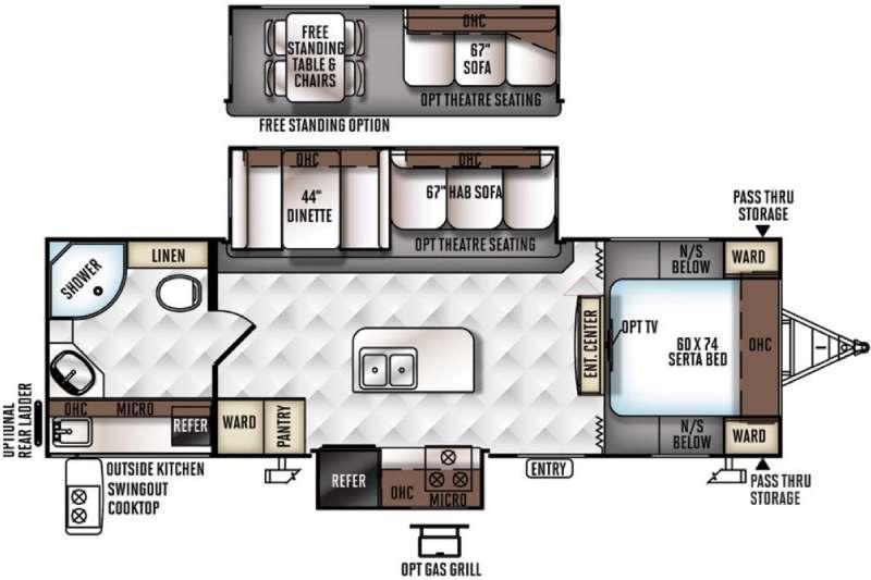 Rockwood Ultra Lite 2607A Floorplan Image