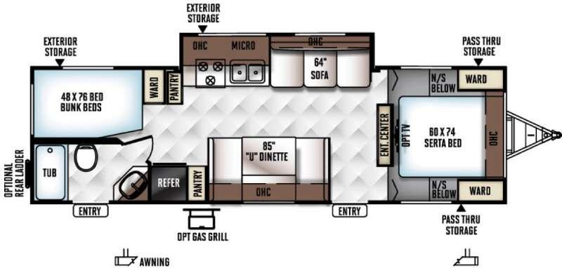 Rockwood Ultra Lite 2702SS Floorplan Image