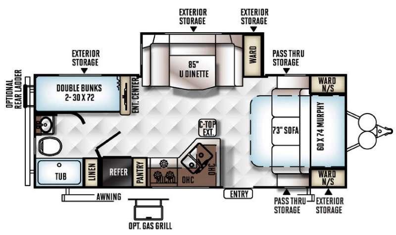 Rockwood Mini Lite 2504S Floorplan Image