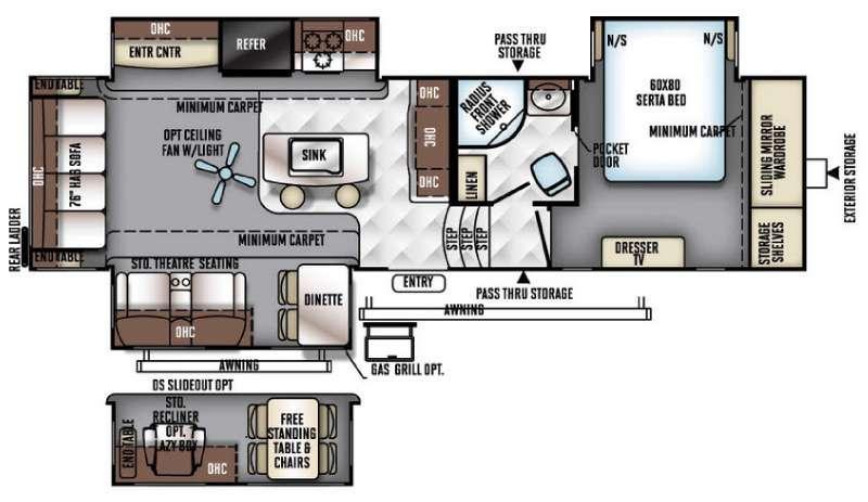 Rockwood Signature Ultra Lite 8292BS Floorplan Image