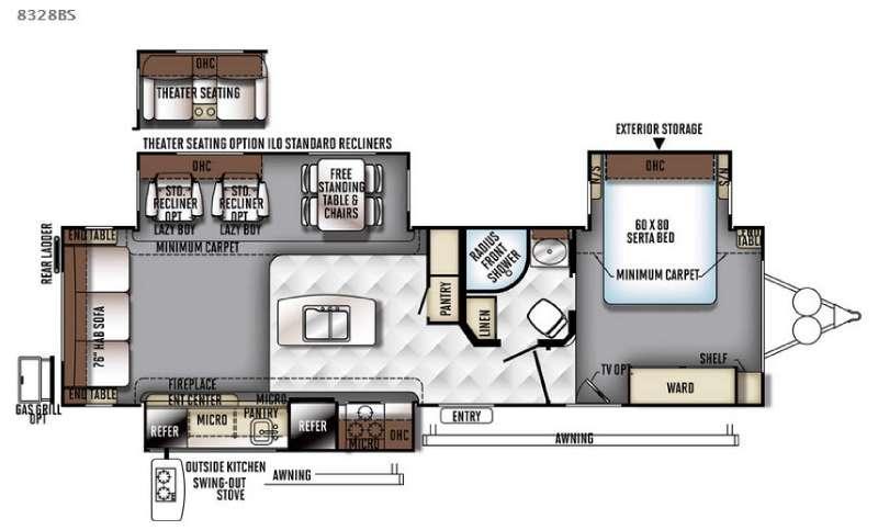 Rockwood Signature Ultra Lite 8328BS Floorplan