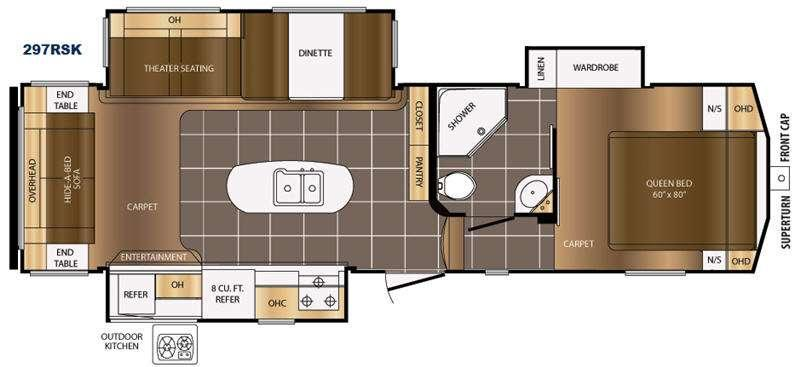 Floorplan - 2017 Prime Time RV Crusader 297RSK
