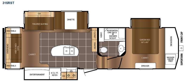Floorplan - 2017 Prime Time RV Crusader 315RST