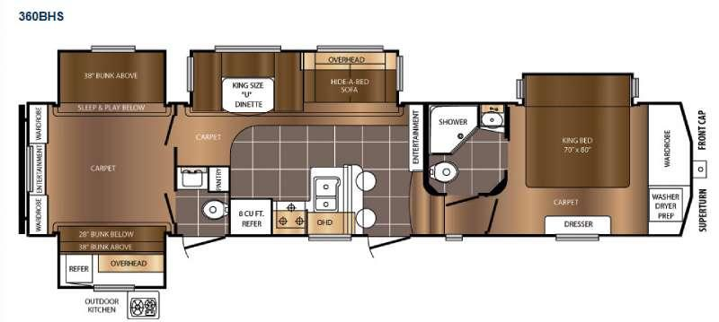 Floorplan - 2017 Prime Time RV Crusader 360BHS