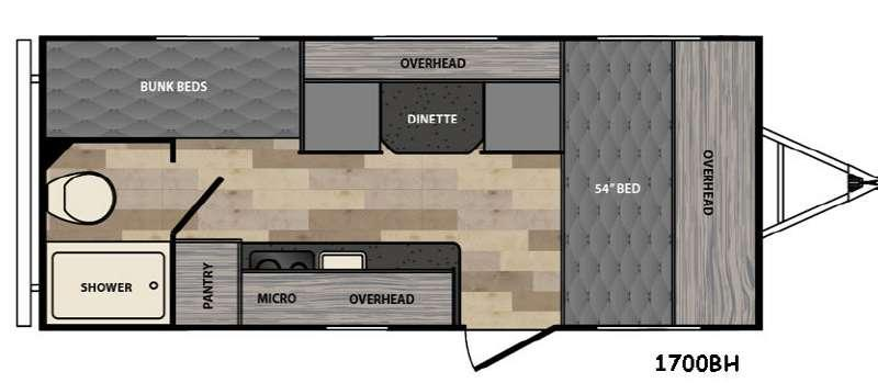 Floorplan - 2017 Winnebago Industries Towables Micro Minnie 1700BH
