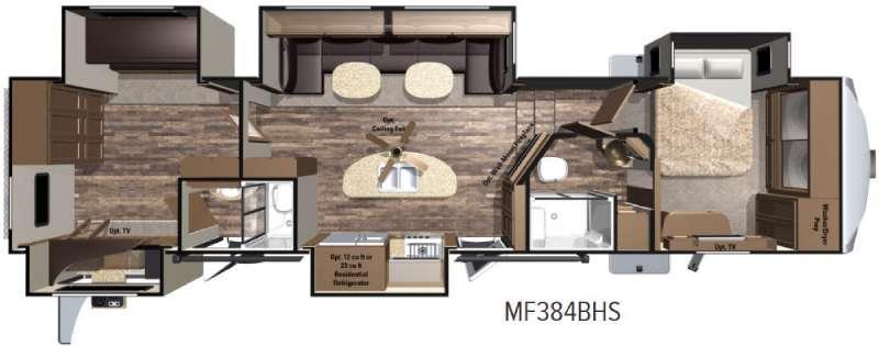 Floorplan - 2017 Highland Ridge RV Mesa Ridge MF384BHS
