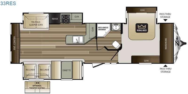 Cougar X-Lite 33RES Floorplan Image