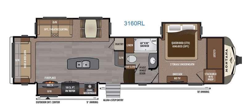 Floorplan - 2017 Keystone RV Montana 3160 RL
