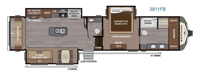 Floorplan - 2017 Keystone RV Montana 3911 FB