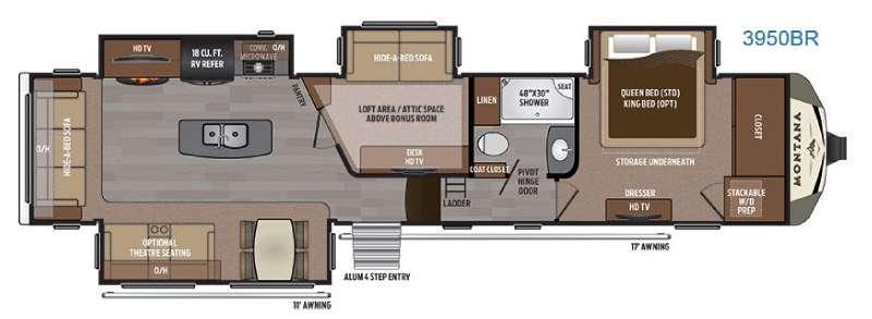 Floorplan - 2017 Keystone RV Montana 3950 BR