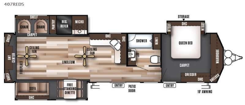 Wildwood Lodge 407REDS Floorplan Image